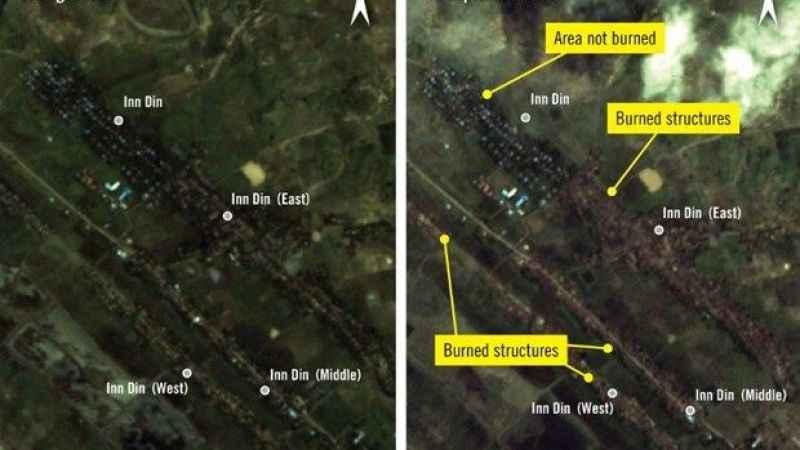 Arakanlı Müslümanların evini kundaklamaları uydu ile ilgili görsel sonucu