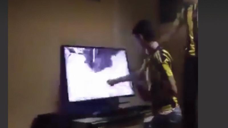Futbolun gerçek yüzü! Televizyonu kıran Fenerbahçeli taraftar